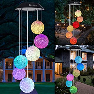 Wind Chime, Solar Crystal Ball/Solar Hummingbird Wind Chime Outdoor/Indoor(Gifts for mom/momgrandma Gifts/Birthday Gifts f...