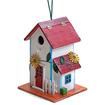 Bo-Toys Hand-Painted Wooden Birdhouse with Flowers Outdoor Garden Decor
