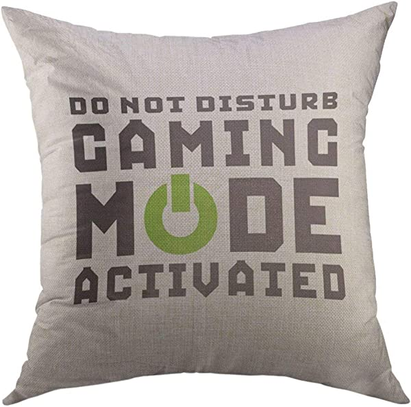 Mugod Decorative Throw Pillow Cover For Couch Sofa Quote Humor Funny Gamer For Video Games Geek Gaming Black Mode Home Decor Pillow Case 18x18 Inch