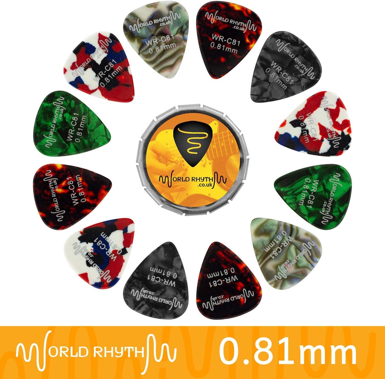 World Rhythm - Púas de guitarra, 0,81 mm, 12 púas de celuloide para guitarra y lata de almacenamiento, gama de colores/diseños