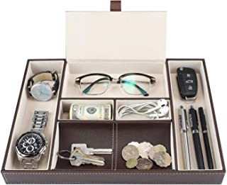 Baoyun Mens Valet Tray Organizer - Leather Men's EDC Tray and nightstand Dresser Organizer for Watch Phone Jewelry Key Wal...