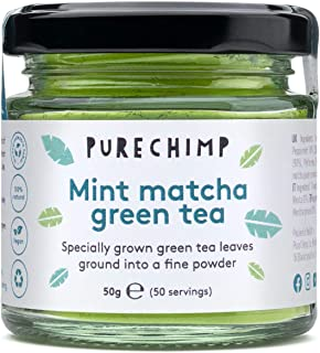 Mint Matcha Green Tea Powder 50g (1.75oz) by PureChimp - Flavoured Ceremonial Grade From Japan - Pesticide-Free - Recyclab...