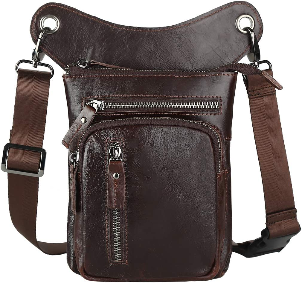 Leathario latest We OFFer at cheap prices Men's Genuine Leather Leg Pouch Bag Motorcycl Drop