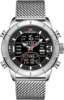 Quartz Watch, Anself 9153 Man Quartz Watch Dual Time Calendar Week Date Display Noctilucent Waterproof Stainless Steel Ban...