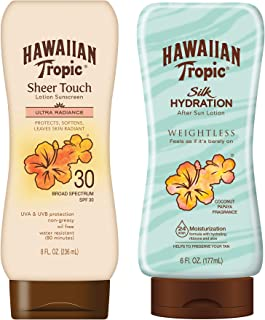 Hawaiian Tropic SPF 30 Broad Spectrum Sunscreen and After Sun Pack with 8oz Sheer Touch Moisturizing Sunscreen Lotion and ...