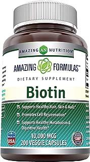Amazing Formulas Biotin Supplement – 10,000mcg – 200 Veggie Capsules..