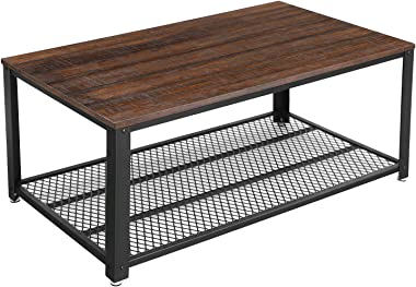 VASAGLE Coffee Table with Steel Frame and Mesh Storage Shelf, 41. 8 x 23. 7 x 17. 7 inches, Rustic Dark Brown