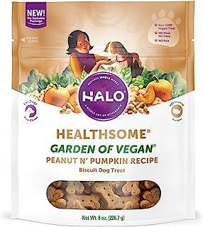 Halo Vegan Grain Free Natural Crunchy Dog Treats, Garden of Vegan Recipe, 8-Ounce Bag