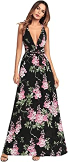 Escalier Womens Summer Chiffon Gradient Strapless Maxi Long Beach Dress with Belt