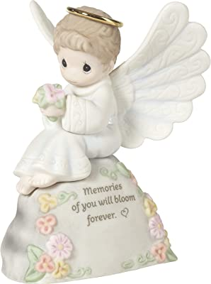 Precious Moments Boy Angel Bereavement 192004 Memories of You Will Bloom Forever Bisque Porcelain Figurine, Multi,Multicolor
