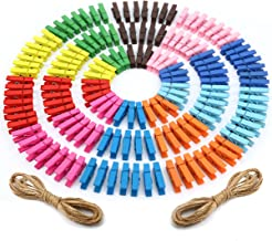 Mcirco 【150 Pieces】 Wooden Clips, Mini Colored Natural Wooden Clothespins Photo Paper Peg Pin Craft Clips with Jute Twine