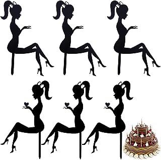 Décor de gâteau d'anniversaire de dame Fille Acrylique Gâteau Topper Cupcake Topper en acrylique Cake Topper Silhouette en...