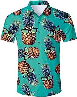 RAISEVERN Summer Men's Funny Print Hawaiian Shirt and Shorts Sets Casual Short Sleeve T-Shirt with Beach Trousers Outfits Holiday Clothes Button Hawaiian Aloha Clothing S-XXL