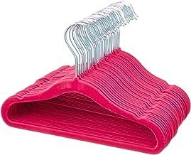 AmazonBasics Kids Velvet Non-Slip Clothes Hangers, Pink - Pack of 30