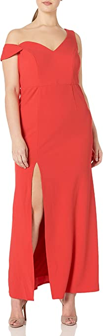 ABS by Allen Schwartz Women's Plus Size Sleeveless Asymmetric Off Shoulder Gown