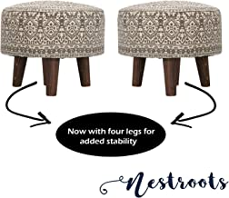 Nestroots Printed Ottoman Cushion Footrest Stool Pouf - 4 Wooden Legs Added Stability (Off-White Printed, Set of 2)
