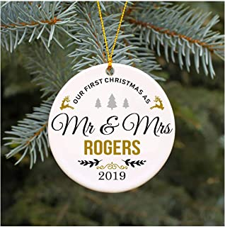 Our First Christmas as Mr & Mrs Ornament 2019 Rogers Christmas Tree Decorations, Present Wedding Ornament for Couple Married Wedding Decoration 3