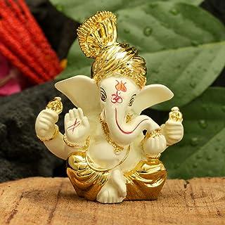 CraftVatika Gold Plated Terracotta Pagdi Ganesha Statue for Car Dashboard God Ganpati Puja Gifts Idols Home Decor (Size 8 ...