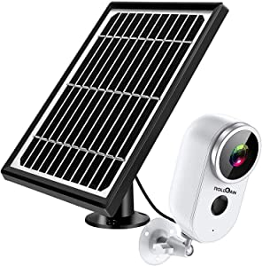 Security Home Camera Outdoor with Solar Panel, ROLLGAN Wireless Cam Solar Powered 1080P HD Wire-Free Smart Surveillance WiFi IP Camera with Night Vision, Motion Detection, 2-Audio, SD Slot, Waterproof