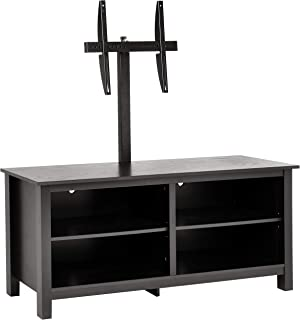 Rockpoint Plymouth 58-Inch Wood TV Stand Storage Console, Smoky Black