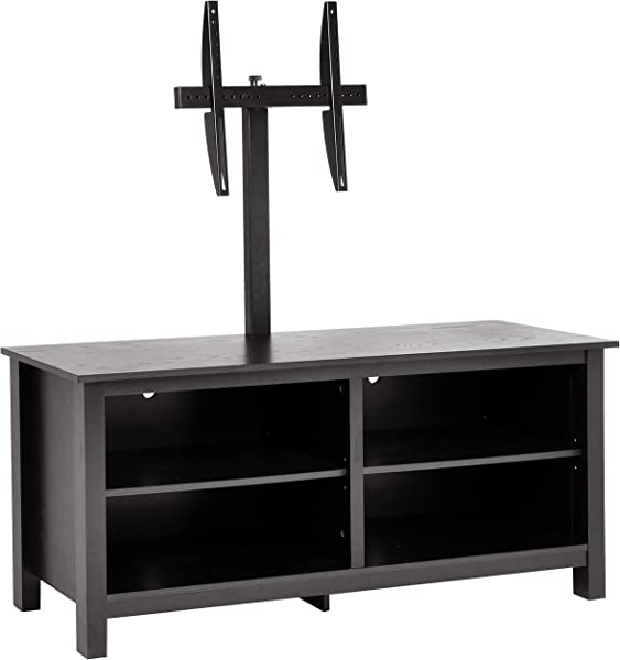 Rockpoint Plymouth 58 Inch Wood TV Stand Storage Console Smoky Black