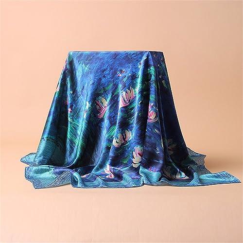 FLYRCX Satin de Soie de Haute qualité imprimé Foulard Soie pour Les Les dames Multipurpose écharpe chale 108cmx108cm