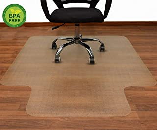 AiBOB 53 x 45 inches Office Chair mat for Hardwood Floor, Easy Glide for Chairs, Flat Without Curling, Polyethylene Floor Mats for Desk Computer