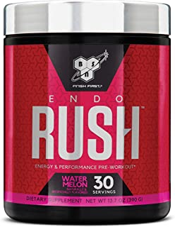 BSN Endorush Pre Workout Powder, Energy Supplement for Men and Women, 300mg of Caffeine, with Beta-Alanine and Creatine, Watermelon, 30 Servings