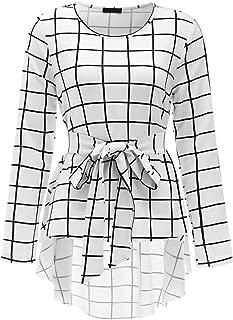 Women's Raw Hem Long Sleeve Belted Flare Peplum Blouse Shirts Top