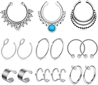 JFORYOU 12PCS Stainless Steel Ear Cuff Ear Clips Non Piercing Cartilage Earrings Fake Nose Lip Suptum Ring Set for Men Women, 8 Various Styles Faux Body Piercing Jewelry