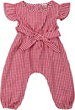 Toddler Baby Girls Plaid Flutter Sleeve Bowknot Bodysuit Romper Knee Pants Summer Jumpsuit Outfits Clothes Sets Summer