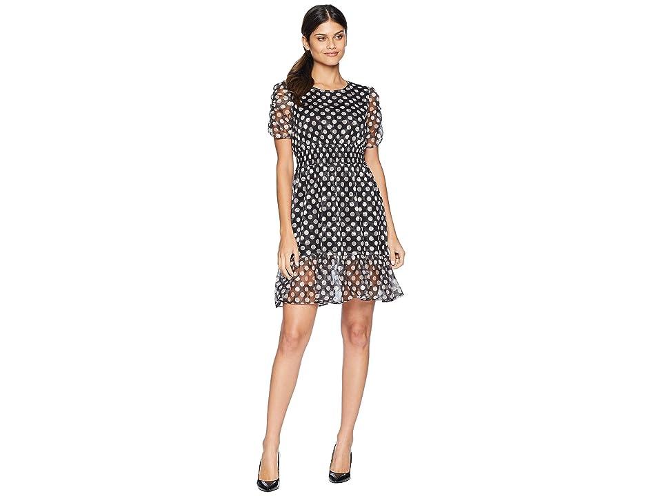 Betsey Johnson Dotty Ruffle Hem Dress (Black/Blush) Women