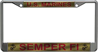 لوحة ترخيص من الأسلحة القوات المسلحة في الولايات المتحدة. مارينز سيمبر فاي مع إطار لوحة ترخيص الكرة الأرضية