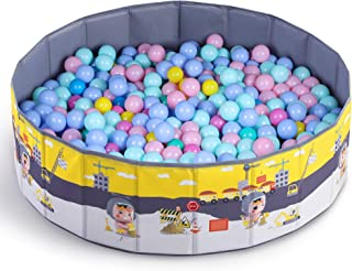 iPlay, iLearn Kids Ball Pit, Large Toddler Ballpit, Portable Baby Play Ball Pool, Foldable Ocean Ball Playhouse W/ Storage Bag, Indoor Outdoor Play, Gifts for Infants Boys Girls (Balls Not Included)
