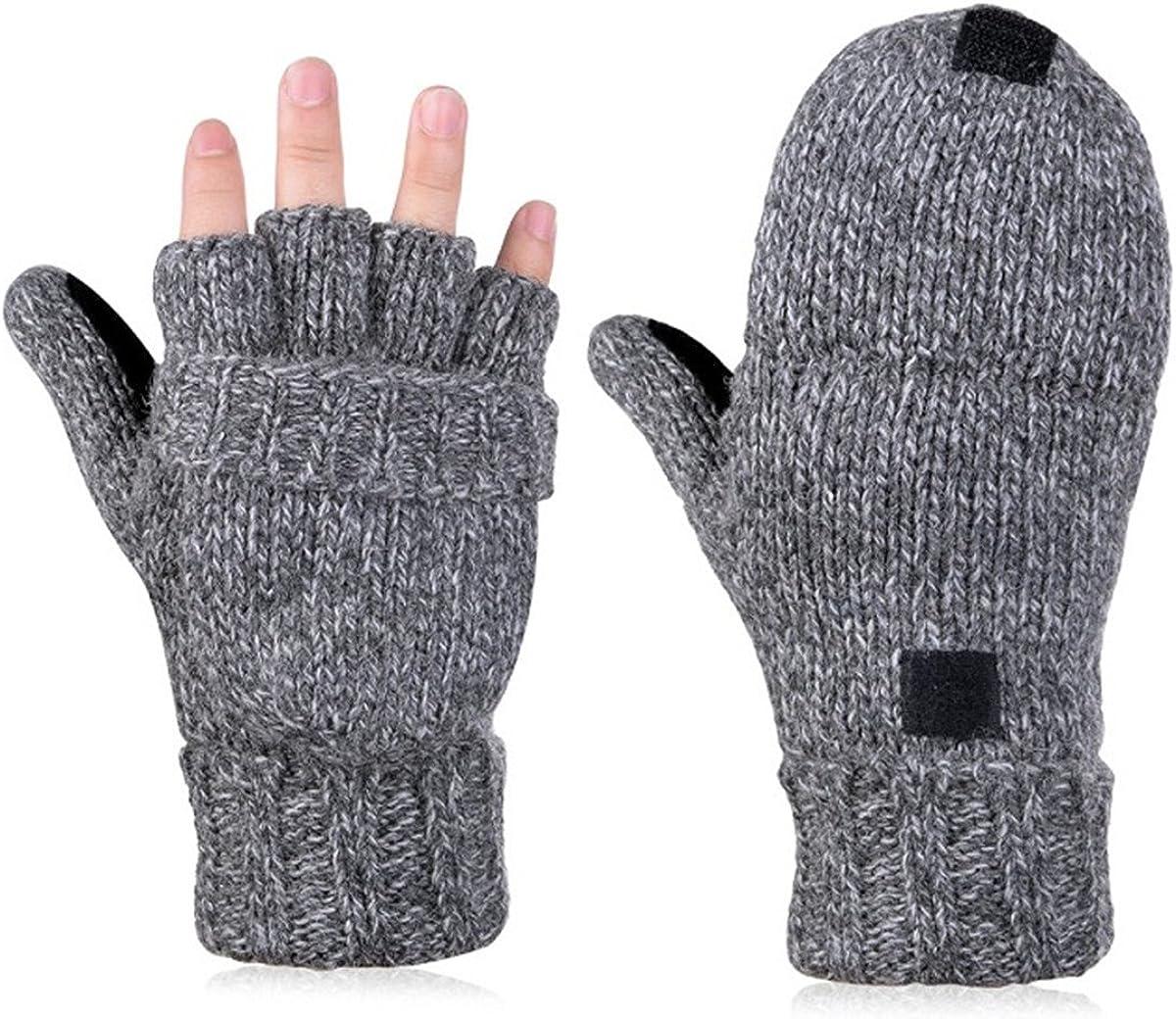 LKXHarleya Winter Flip Top Gloves Knitted Fingerless Mitten Gloves with Flip Cover