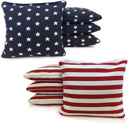 Johnson Enterprises, LLC Regulation Cornhole Bags 17 Colors Handmade (Set of 8) (Star/Stripe)