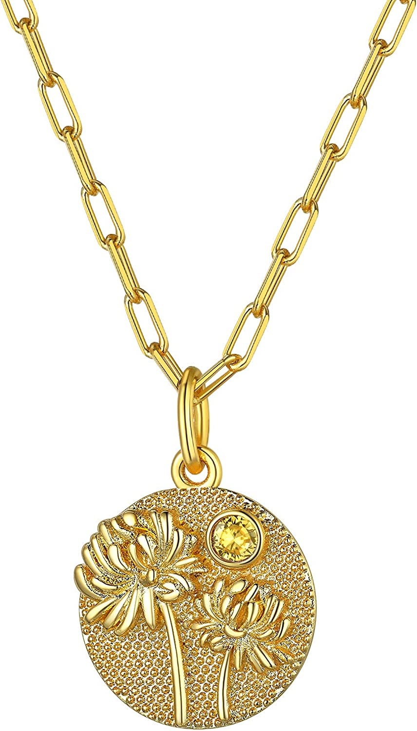 GOLDCHIC JEWELRY Personalized Birth Month Guardian Flower Necklace with Birthstone 18K Gold Plated Floral Disc Coin Necklace Birthday Flower Birthday Gift for Mom/Daughter/Best Friend