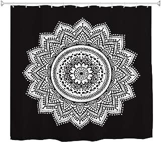BROSHAN Black and White Mandala Shower Curtain, Ethnic Retro Bohemian Mandala Flower Art Print Bath Curtain, Black Polyester Waterproof Fabric Bathroom Decor Set with Hooks,72x 72 Inch,