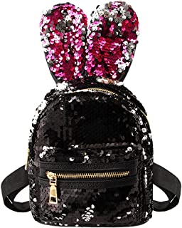 Liliam Kids Girls Dazzling Sequins Rabbit Ears Backpack Daypack Shoulder Travel Mini Bag Satchel