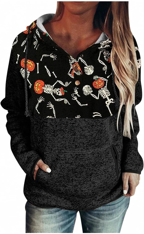 felwors Hoodies for Women, Womens Halloween Casual Pullover Hoodies with Pockets Hooded Long Sleeve Sweatshirt Tops