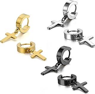 Cupimatch 3-6 Pairs Stainless Steel Cross Dangle Huggie Hinged Hoop Earrings for Men Women
