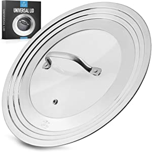 Zulay Kitchen Universal Lid For Pots and Pans - Stainless Steel & Tempered Glass Universal Pan Lid - Durable Universal Pot Lid Fits 7