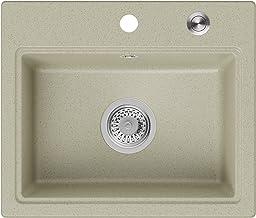Granieten Gootsteen Beige + Pop-Up Sifon + Antibacterieel Oppervlak, Voor Keukenkasten vanaf 50 cm, Grootte 50,5 x 43 cm, ...