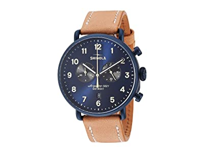 Shinola Detroit 43 mm Canfield 2 Eye Chrono (Midnight Blue/Natural Leather Strap) Watches