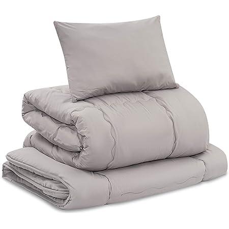 [Amazonブランド] Umi.(ウミ)布団3点セット 中綿1.6kg ◐新生活応援◐ 抗菌 防臭 洗える ふとんセット 巻綿敷布団 掛布団 枕 あったか ふわふわ 増量タイプ ピーチスキン加工 収納ケース付き