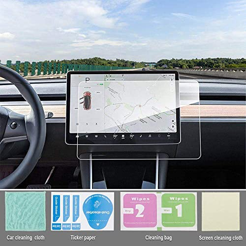 """TOPlight Model 3 Screen Protector Model 3 15"""" Center Control Touchscreen Car Navigation Touch Screen Protector Tempered Glass 9H Anti-Scratch and Shock Resistant Touch Screen Protector for Model 3"""