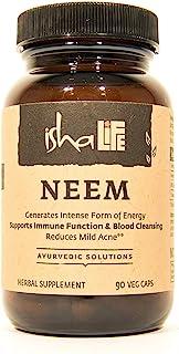 Isha Organic Neem Supplement — Natural Ayurvedic Herbal Cleanser and Purifier: Boosts Immunity - 90 Vegetarian Capsules, 9...