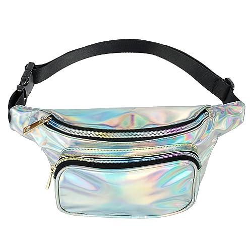 bff48fc143 FZGJ Fanny Pack-PU Waterproof Rave Festival Hologram Travel Waist Bag