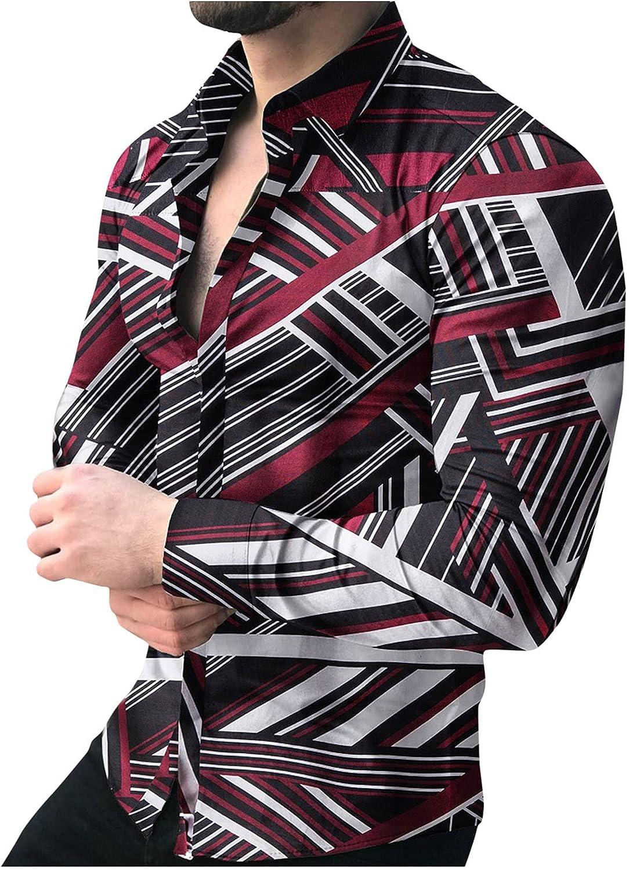 🌻Yowein🌻Men's Shirt Casual Autumn Geometric Floral Long Sleeve Button Turn-Down Collar Shirt Oversize Blouse Soft Top