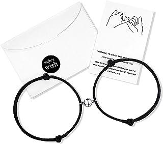 Wilacia - Coppia di bracciali magnetici per coppie, per fidanzati, fidanzate, donne, uomini, per lui e per lei